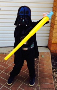 photo of child dressed as Darth Vader